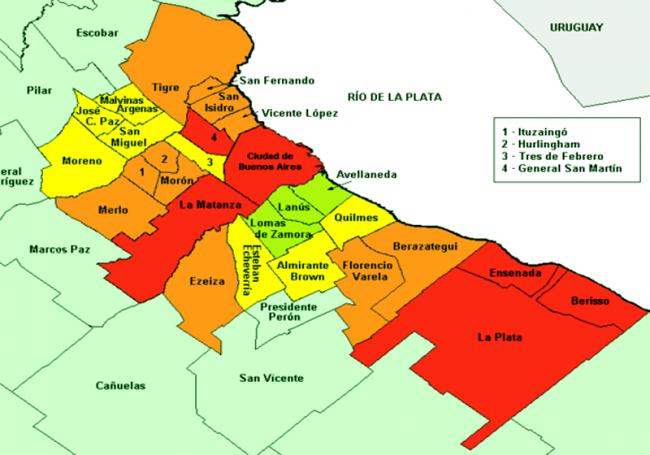 Los barrios y Municipios del Gran Buenos Aires (GBA) 1