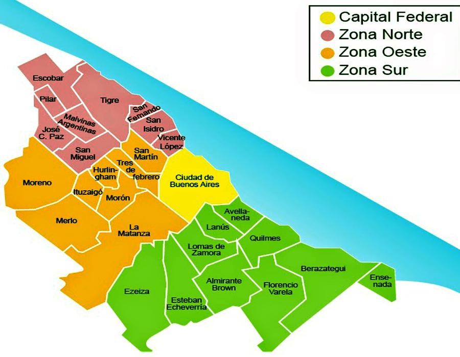 Los barrios y Municipios del Gran Buenos Aires (GBA) 2